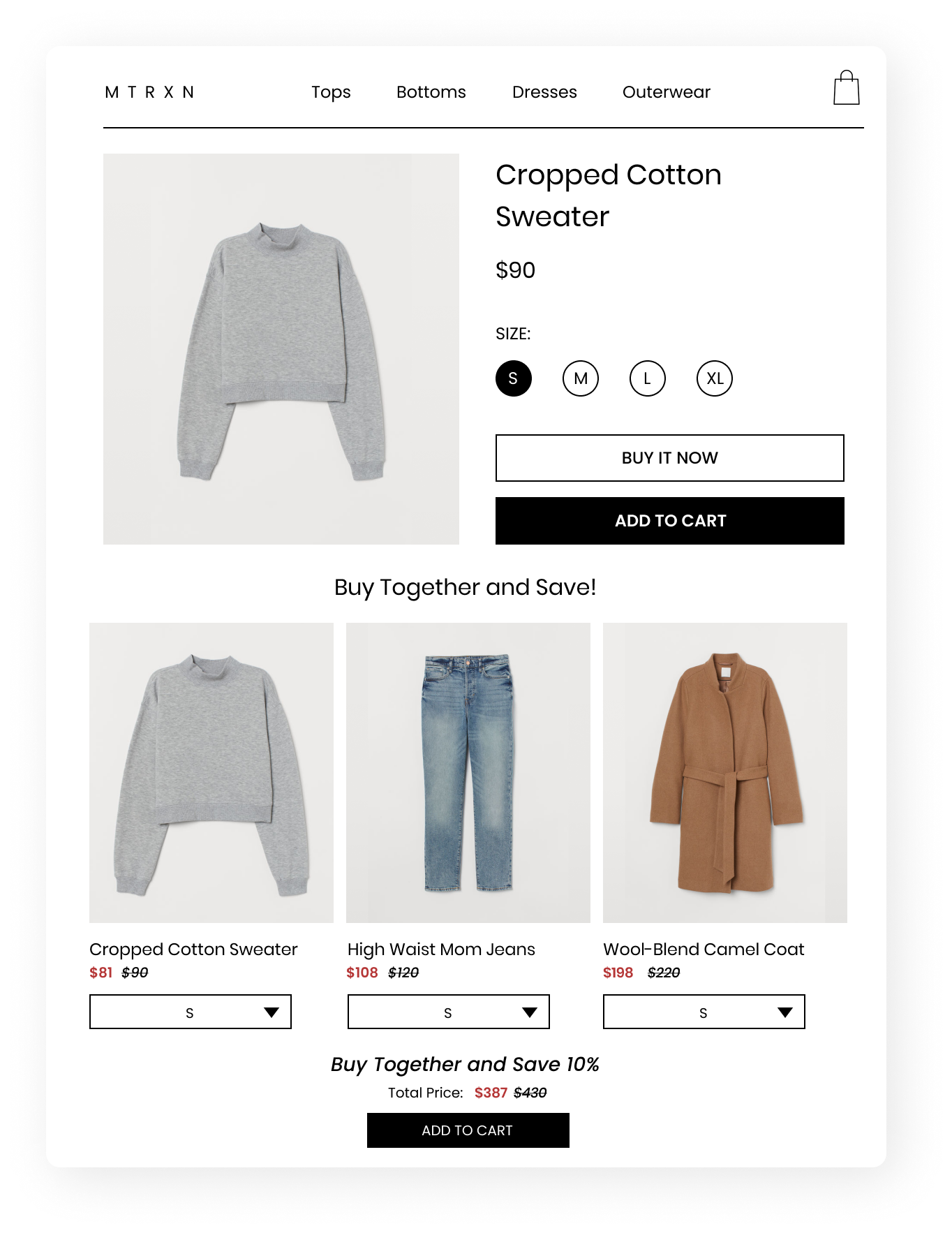 A screenshot showing a cropped cotton sweater product detail page with a bundle widget, buy together and save 10%.