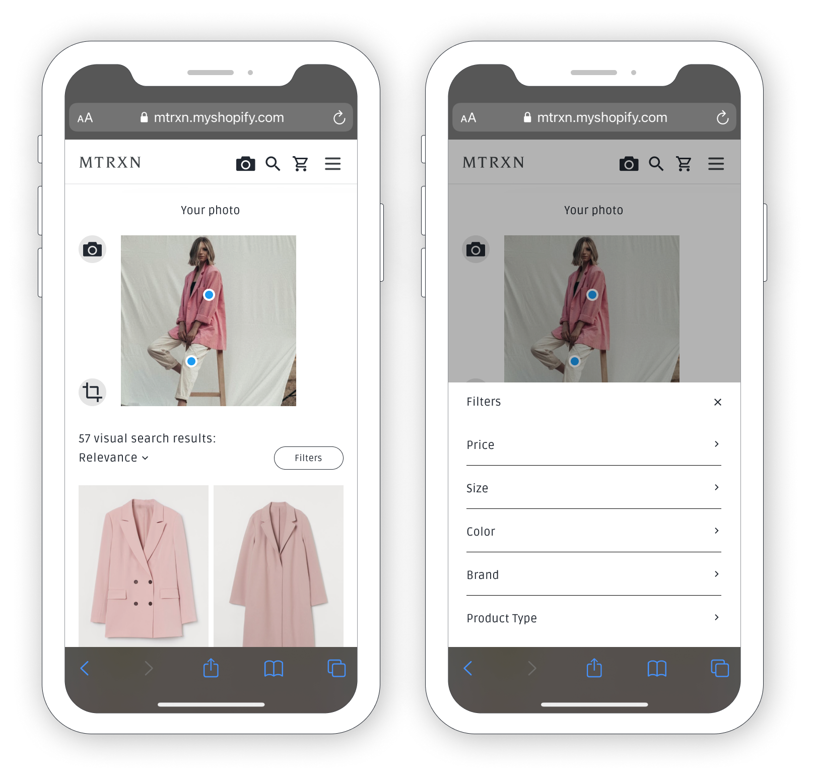Mobile friendly visual search results. Shows an uploaded image of a woman in a pink blazer and white pants. Search results show first two results which consists of two pink jackets. There are also filter options where the user can filter by price, size, colour, brand and product type.