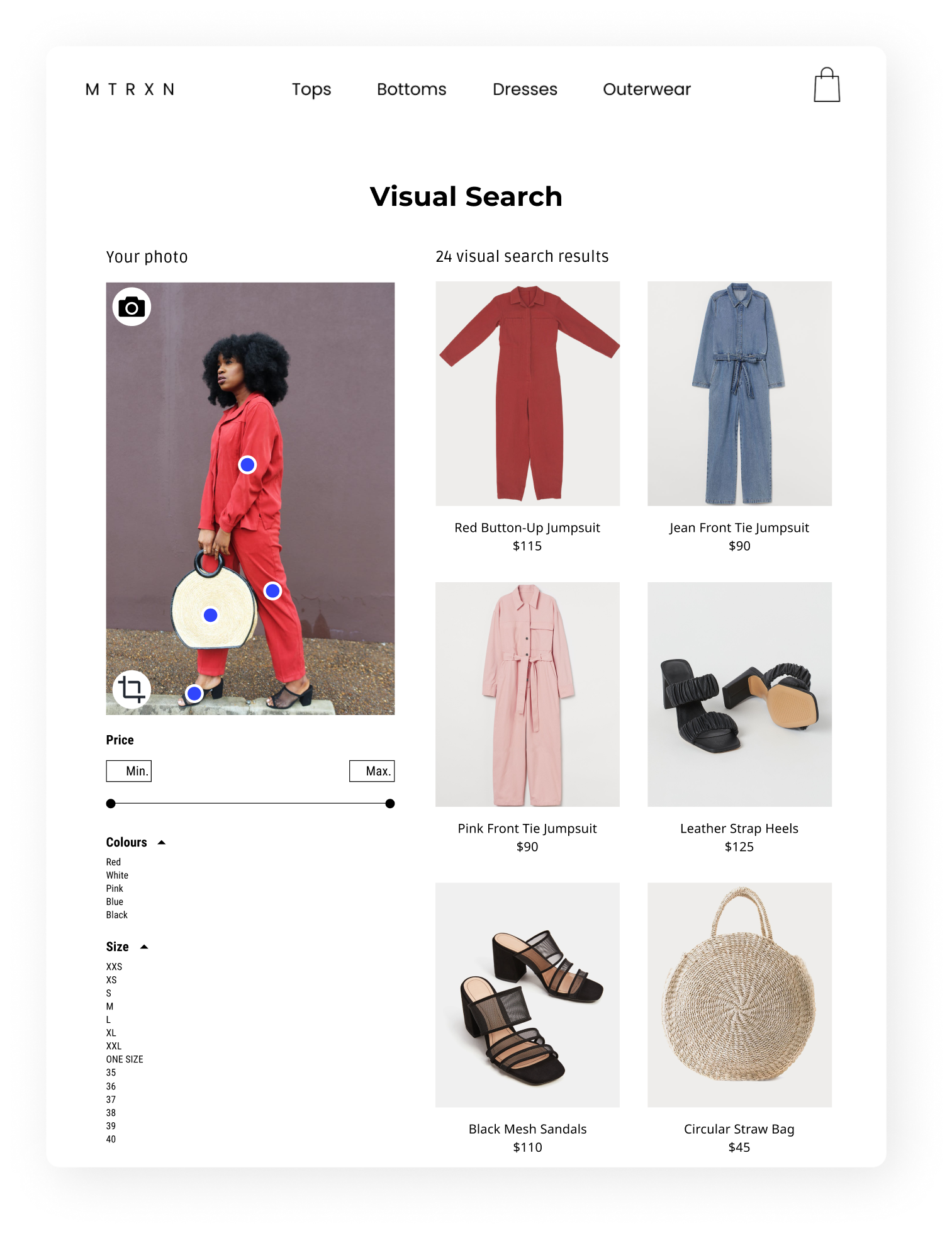 A screenshot of visual search. An image of a woman wearing a red jumpsuit, circular straw bag and black sandals. There are 24 visual search results with similar items.